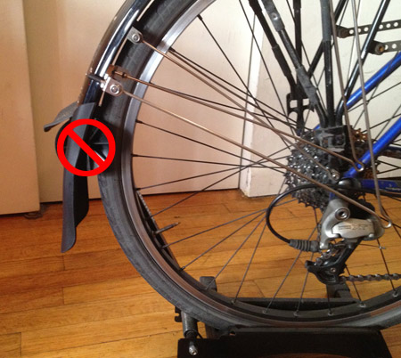 Planet bike cascadia rear fender is too long for the feedback bike stand